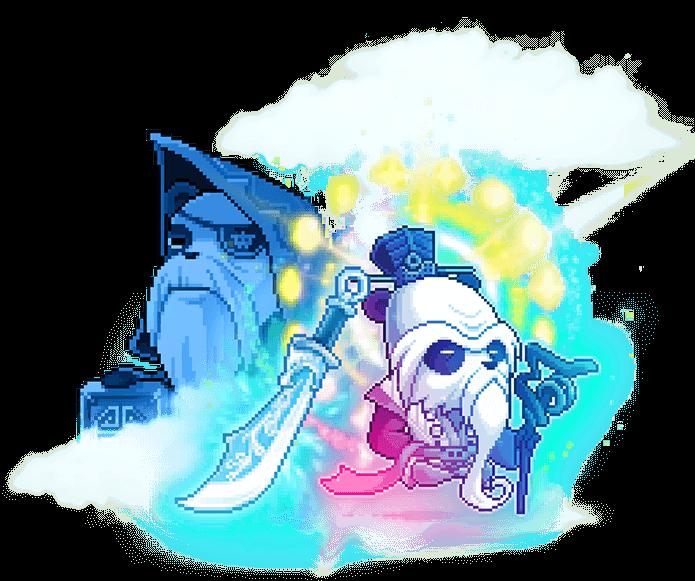 Celestial Treasure Chun Gong and Man Gong Illustration